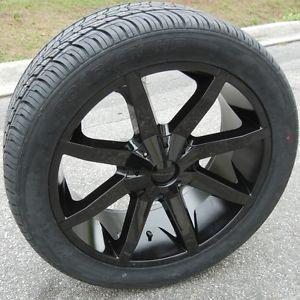 "22"" Black KMC Slide Wheels Rims Nexen Roadian Tires Silverado Tahoe Titan GMC"