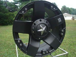 Black XD Rockstar 17 x 8 Chevy GMC Ford F150 High Offset 6 Lug Bolt Wheels
