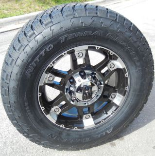 "17"" KMC XD Spy Wheels 33"" Nitto Terra Grappler Tires 6 Lug 6x5 5 Chevy GMC Nissn"