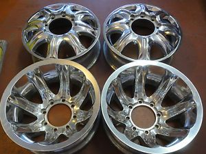 """4 16"""" Ultra Aluminum Dually Wheels Polished 8x6 5 Pre 07 GM 99 Older Ford Dodge"""