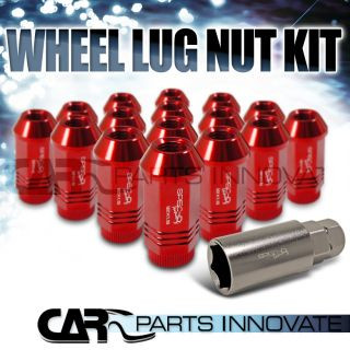 Spec D 16pc Red Anodized Wheel Rim Lug Nut Set w Socket Aluminum