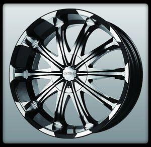 "22"" x 9 5"" Verde V51 Avatar Black Machined Silverado Colorado Tahoe Wheels Rims"