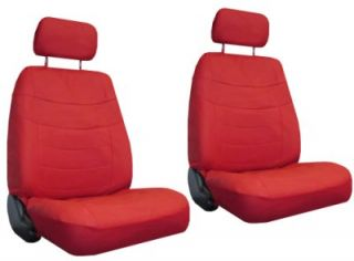 Red Car Seat Covers Set w Steering Wheel Cover Belt Shoulder Pads 4