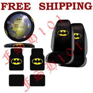 New Batman Logo Car Truck Seat Covers Steering Wheel Covers Floor Mats Set