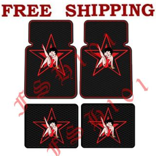 New 4pc Set Cartoon Betty Boop Red Star Car Truck Rubber Floor Mats