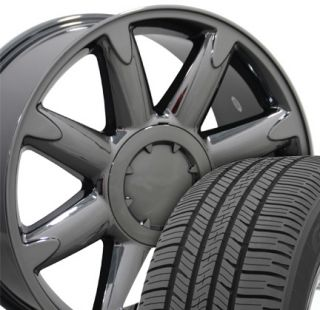 "20"" Black Chrome Denali Wheels Tires Rims Fit GMC Chevrolet Cadillac"