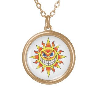 Cool cartoon tattoo symbol evil smiling SUN face Personalized Necklace