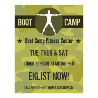 Body Madness Boot Camp Green Camo Fitness Flyers