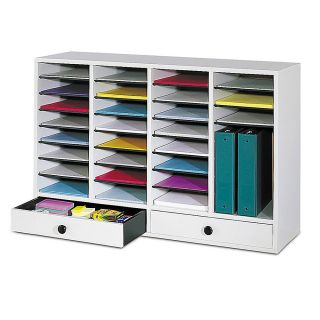 Safco Adjustable Wood Literature Organizer 25 38 H x 39 38 W x 11 34 D 32 Compartments 2 Drawers Gray
