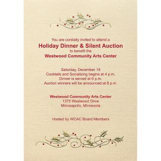 Custom Printed Premium Invitations 7 34 x 5 12  Holly Party Flat Gold Shimmer Box Of 25