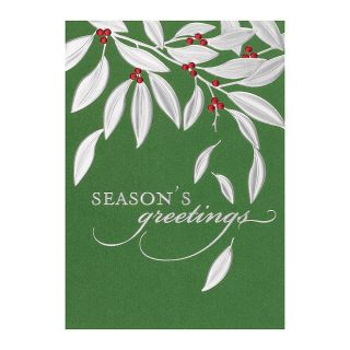 Personalized Holiday Cards 5 58 x 7 78  Leaves Of Silver Box Of 25