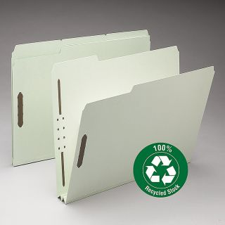 Smead Pressboard Fastener Folders 2 Expansion Letter Size 100percent Recycled GrayGreen Pack Of 25