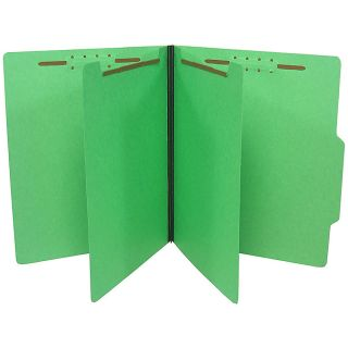 SJ Paper Top Tab Economy Classification Folders Letter Size 2 Dividers 35percent Recycled Green Box Of 25