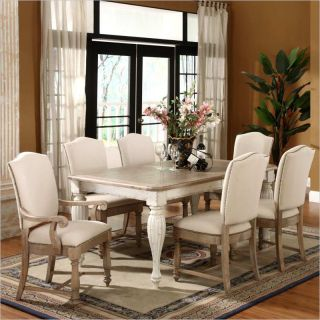 Riverside Furniture Coventry 7 Piece Dining Table Set in Weathered Driftwood and Dover  White   32550 7PC PKG