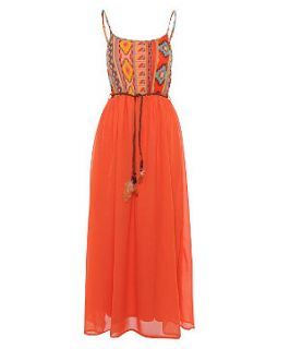 Madam Rage Orange Aztec Maxi Dress
