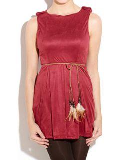 Te Amo Purple Feather Belted Dress