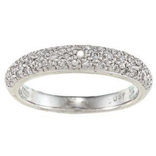 Platinum 3/8ct TDW White Diamond Pave Ring (G H, I1) Women's Wedding Bands