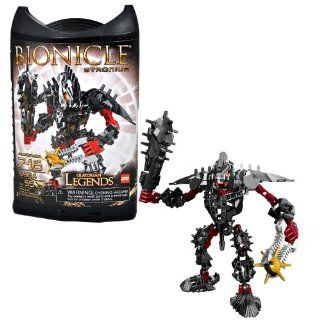 Lego Year 2009 Bionicle Glatorian Legends Series 7 Inch Tall Figure Set # 8984   Black STRONIUS with Powerful Thorned Club and Spiked Thornax Launcher (Total Pieces: 55): Toys & Games