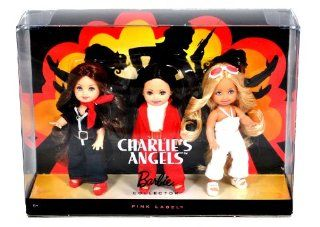 Mattel Year 2009 Barbie Pink Label Collector Series 3 Pack 4 1/2 Inch Doll Gift Set   Sabrina, Jill and Kelly as CHARLIE's ANGELS (N6583): Toys & Games