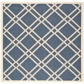 Safavieh Indoor/Outdoor Diamond Pattern Courtyard Navy/Beige Rug (6'7 Square) Safavieh Round/Oval/Square