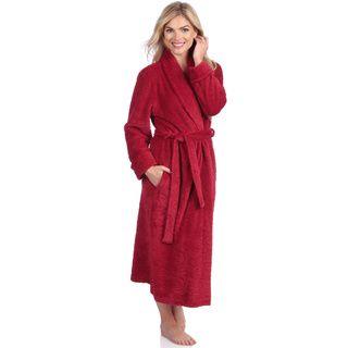 Jasmine Rose Women's Red Swirl Detail Plush Robe Jasmine Rose Pajamas & Robes