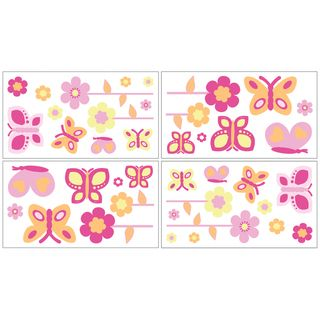 Sweet JoJo Designs Pink and Orange Butterfly Decal Stickers (Set of 4) Sweet Jojo Designs Wall Decor