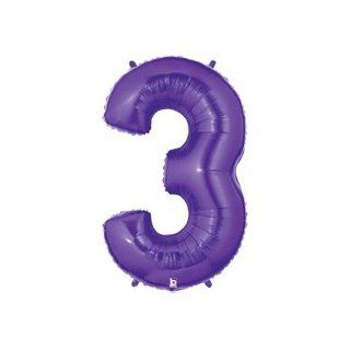"(1) Number Three #3 3rd PURPLE Girl 40"" Birthday Party Figure Huge Mylar Balloon: Health & Personal Care"
