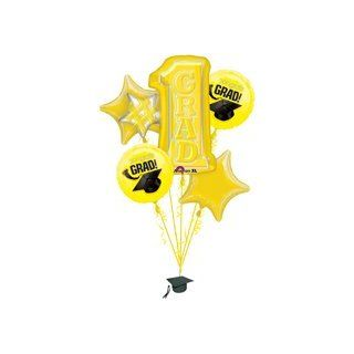 Number One Congrats Grad Graduation Party Yellow Foil Balloon Bouquet: Toys & Games