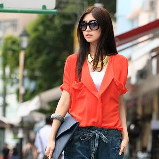 Pocket Front Chiffon Shirt, Orange Red , One Size   SO Central