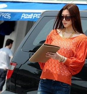 Lace Sleeve Open Knit Top, Orange , One Size   SO Central