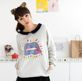 Peter Pan Collar Lips Print Pullover, Light Gray , One Size   59 Seconds