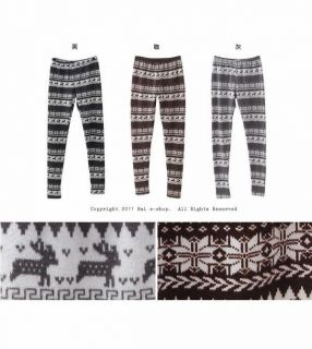 Nordic Print Leggings, Black , One Size   BAIMOMO