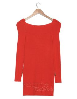 Zip Detail Rib Knit Sweater, Orange , One Size   SO Central