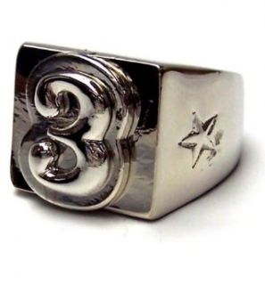 CHAPTER 2 Alphabet LETTER C Monogram Chrome Ring   13: Clothing