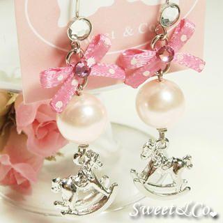 Pink Mini Rocking Horse Pearl Earrings   Sweet & Co.