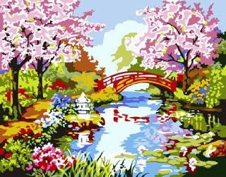 Japanese Garden Acrylic (2013 New DIY paint by number 16*20'' kit) Arts, Crafts & Sewing