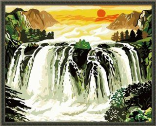 """AutoLive Paint By Numbers Kits, Waterfall Paint By Number Kits, 20""""x16"""" Arts, Crafts & Sewing"""