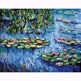 """DiyOilPaintings Paintworks Paint By Number 20""""x16"""", Original Oil Painting by Monet, Water Lilies   Childrens Paint By Number Kits"""