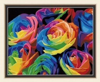"""AutoLive Paintworks, Vintage Paint by numbers kits, Oil Painting, Colorful Roses Paint by Number kits Masterpieces, 20""""x16"""" Arts, Crafts & Sewing"""
