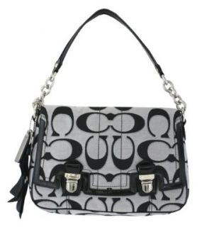Coach Signature Poppy Pop Pushlock Flap Shoulder Bag Purse Tote 18352 Black White Clothing