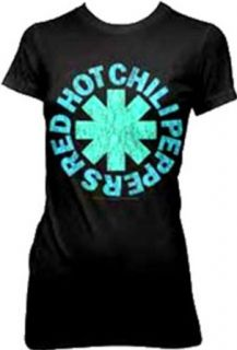 Red Hot Chili Peppers Asterisk Aqua Juniors T Shirt: Clothing