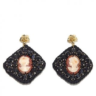 """AMEDEO NYC® """"Uncinetto"""" 25mm Cameo Crocheted Black Bead Drop Earrings"""