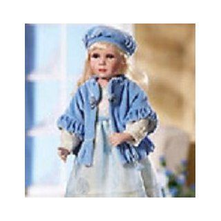 "Scandinavian Bisque Porcelain Doll Dressed in Pretty Wintertime Pastels,18""H"