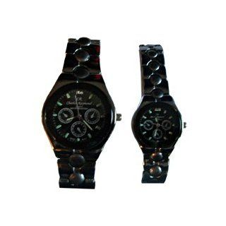Charles Raymond His & Hers Designer Elegant Black Watche with Black Face Watch Set: Everything Else