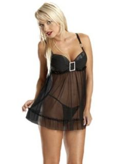 Sexy Sheer Babydoll Black Lingerie Jewel Accent Underwire Cups Matching Gstring: Clothing