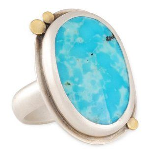 ANANDA KHALSA  Large Oval Turquoise Ring in Sterling Silver and 22KY Gold: Jewelry