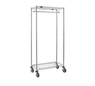 "Eagle Group UR1836C 18x36"" Mobile Coat Rack   Wire Shelves, Hanger Tube, 74"" Posts, Chrome, Each   Coat Stands"
