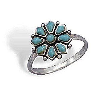 Turquoise Flower 925 Sterling Silver Ring (Sizes5 9): West Coast Jewelry: Jewelry