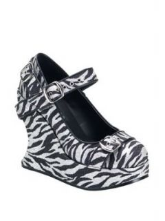 Zebra Print Bondage Strapped Wedge   10: Shoes
