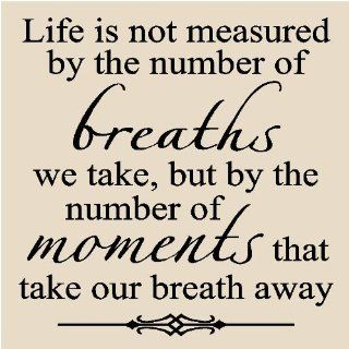 Life is not measured by the number of breaths we take 12x12 vinyl wall art decals sayings quotes words home decor tile lettering stickers